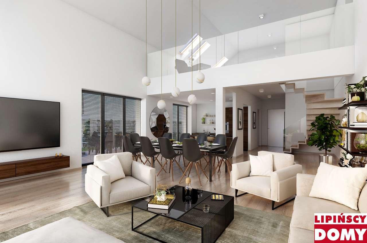 wnętrze domu z antresolą - biuro projektowe Lipińscy Domy