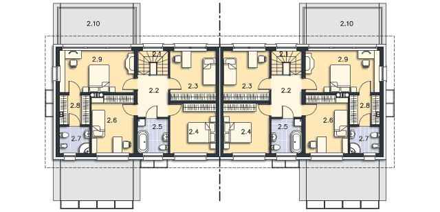 Rzut kondygnacji Piętro - projekt Pago Pago