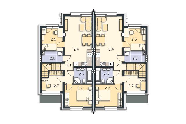 Zobacz powiększenie rzutu kondygnacji Piętro - projekt Springfield III