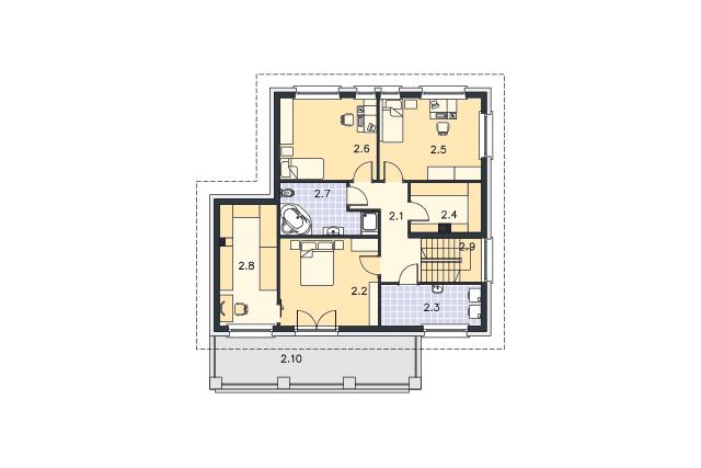 Zobacz powiększenie rzutu kondygnacji Piętro - projekt Kolonia