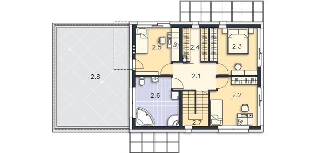 Rzut kondygnacji Piętro - projekt Belfast IV