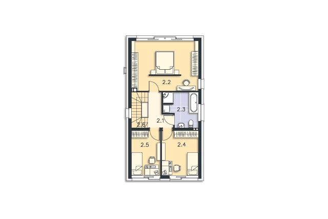 Zobacz powiększenie rzutu kondygnacji Piętro - projekt Tottori