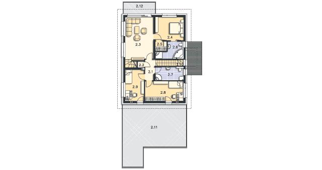 Rzut kondygnacji Piętro - projekt Locarno