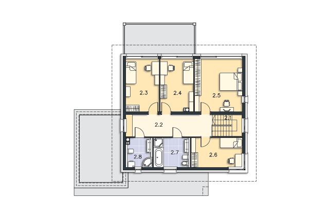 Zobacz powiększenie rzutu kondygnacji Piętro - projekt MAXI_TWO