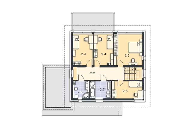 Zobacz powiększenie rzutu kondygnacji Piętro - projekt Carrara II