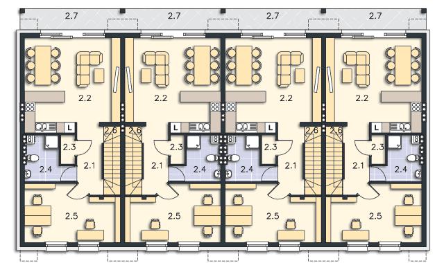 Rzut kondygnacji Piętro (mieszkanie 2) - projekt Belfort