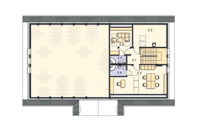 Zobacz powiększenie rzutu kondygnacji Poddasze - projekt Budynek usługowy Orzeł