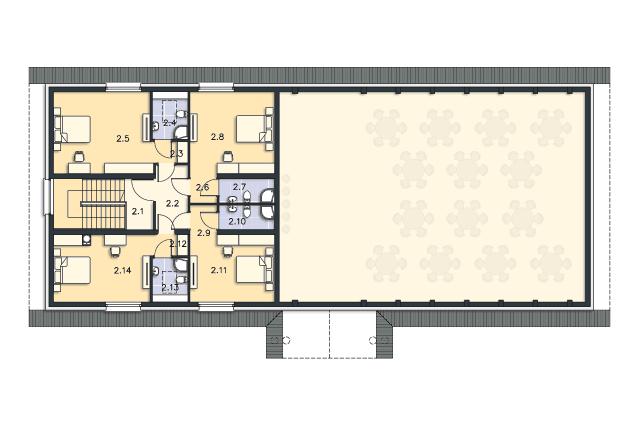 Zobacz powiększenie rzutu kondygnacji Poddasze - projekt Budynek usługowy Puchacz