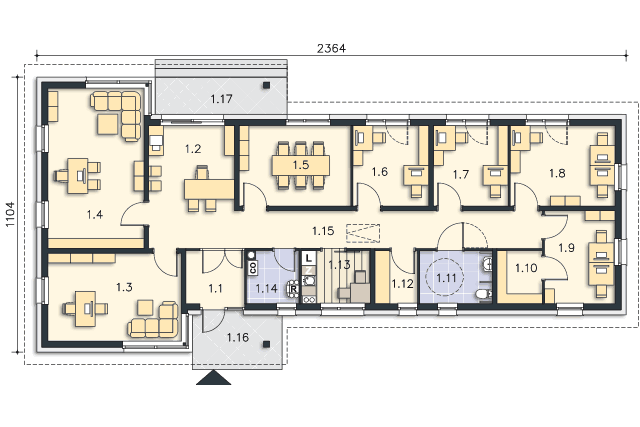 Zobacz powiększenie rzutu kondygnacji Parter - projekt Budynek usługowy Office 1