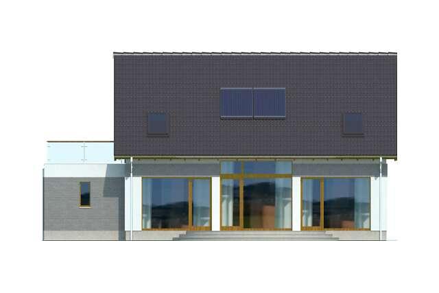Zobacz powiększenie elewacji ogrodowej - projekt Darmstadt Pasywny 1