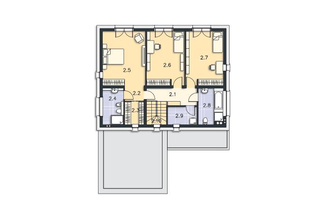 Zobacz powiększenie rzutu kondygnacji Piętro - projekt Tarent Pasywny 5