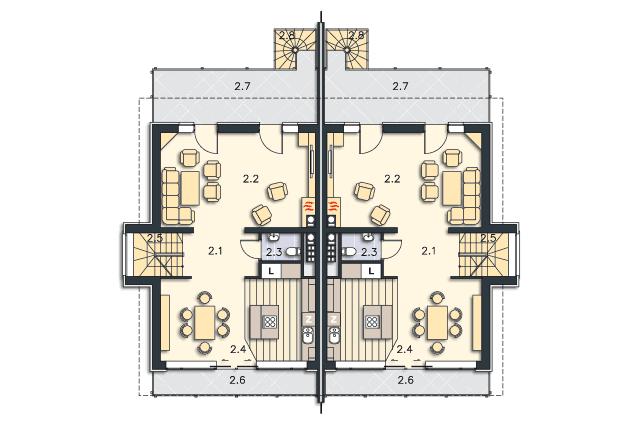 Zobacz powiększenie rzutu kondygnacji Piętro - projekt Przez ścianę