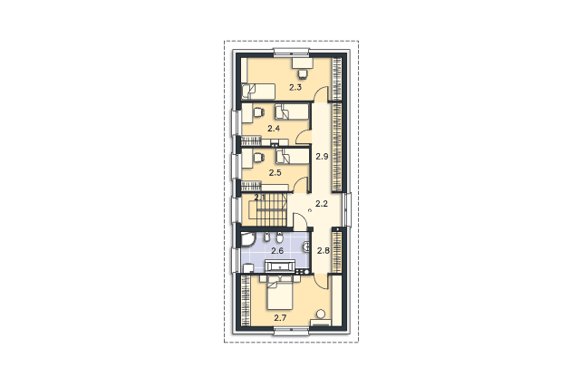 Zobacz powiększenie rzutu kondygnacji Piętro - projekt Lincoln