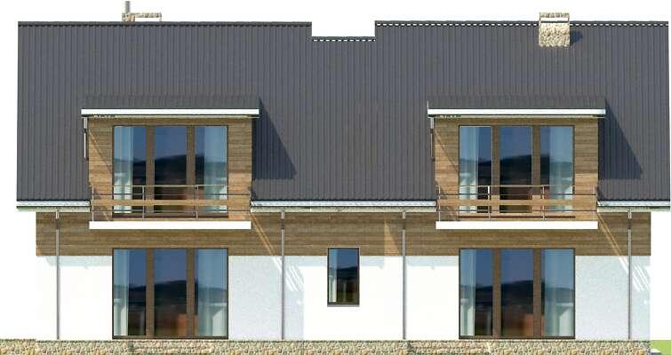 Elewacja ogrodowa - projekt Budynek agroturystyczny Brzoza