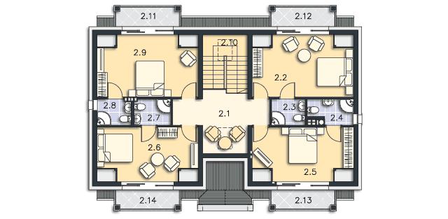 Rzut kondygnacji Poddasze - projekt Budynek agroturystyczny Brzoza 2