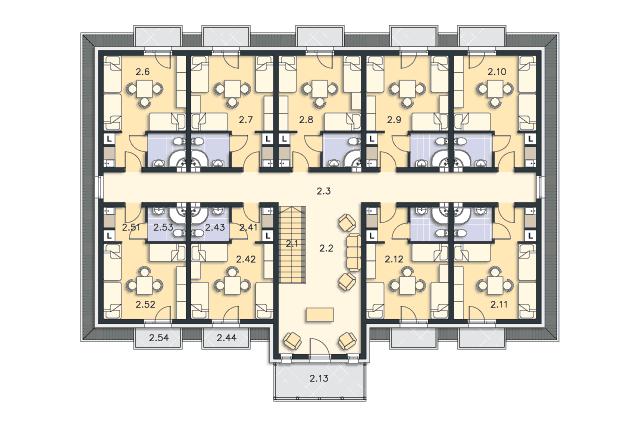 Zobacz powiększenie rzutu kondygnacji Poddasze - projekt Budynek wypoczynkowy Ambrowiec