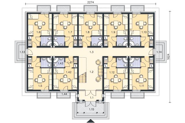 Rzut kondygnacji Parter - projekt Budynek agroturystyczny Ambrowiec