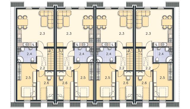 Rzut kondygnacji Poddasze (mieszkanie 2) - projekt Bellagio