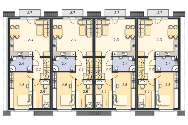 Zobacz powiększenie rzutu kondygnacji Piętro (mieszkanie 2) - projekt Belize