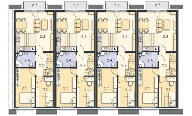 Rzut kondygnacji Piętro (mieszkanie 2) - projekt Bendigo