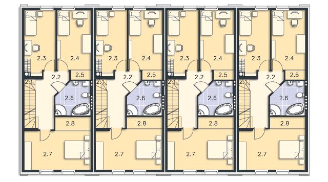Rzut kondygnacji Piętro - projekt Miltown II
