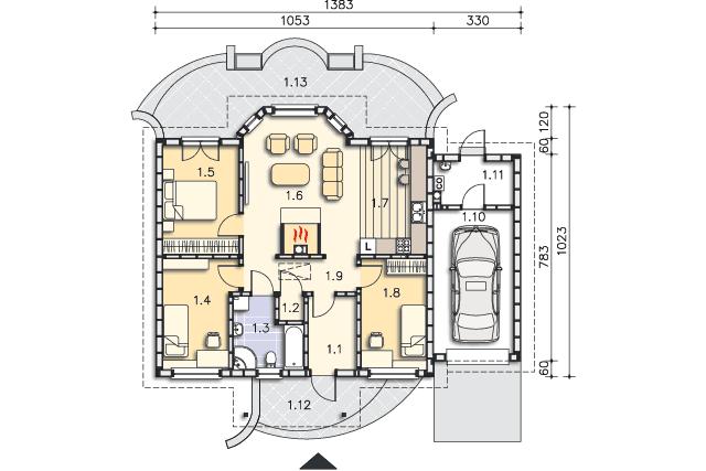 Zobacz powiększenie rzutu kondygnacji Parter - projekt Sofia IV w.drewniana